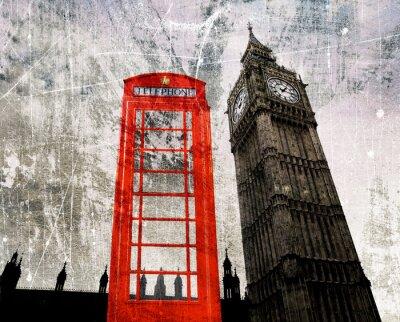 Póster Antiguo Londres Componer Telefonzelle und Big Ben