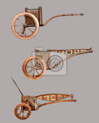 Póster Antique chariot. Egyptian bronze chariot. Acylic illustration.