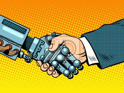 Apretón de manos del robot y el hombre. Evolución de las nuevas tecnologías