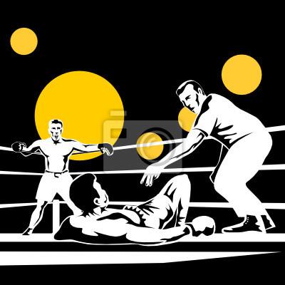 Árbitro contando boxeador