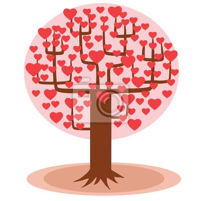 Árbol con los corazones en lugar de hojas