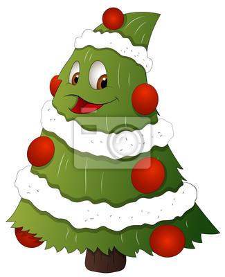 Imagenes Animadas Arboles Navidad.Poster Arbol De Navidad De Dibujos Animados Ilustracion Vectorial