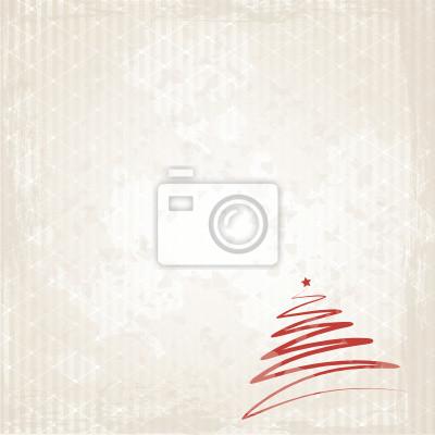 Póster Árbol de navidad rojo sobre fondo grunge
