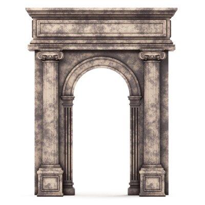 Póster Arco compuesto de mármol beige aislado en blanco
