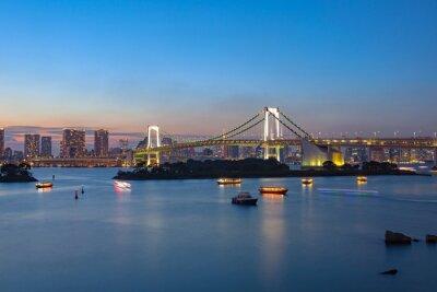 Póster arco iris de Odaiba puente tokio japón importante destino para visitar