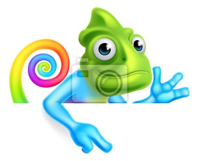 Póster Arco iris dibujos animados Chameleon apuntando