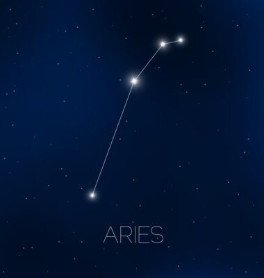 Póster Aries constelación en el cielo nocturno