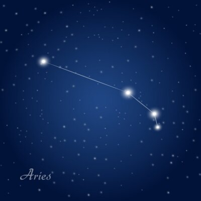 Póster Aries constellation zodiac sign at starry night sky