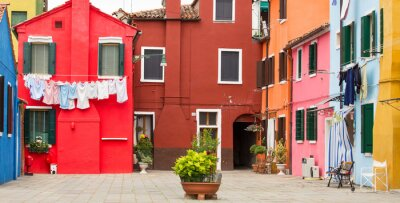 Póster Arquitectura mediterránea en Burano, Italia