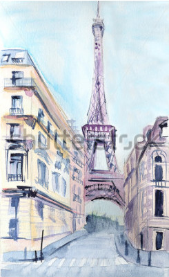 Póster Arquitectura parisina Torre Eiffel