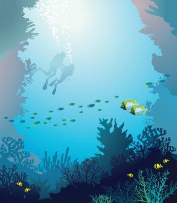Póster Arrecife y buzos Coral. Subacuático.