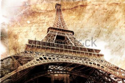 Póster Arte digital abstracto de la torre eiffel en paris, oro. Papel viejo. Postal, alta resolución, imprimible sobre lienzo.