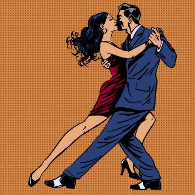 Póster arte hombre y mujer beso tango danza pop