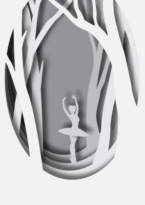 Póster Arte papel talla de bailarina