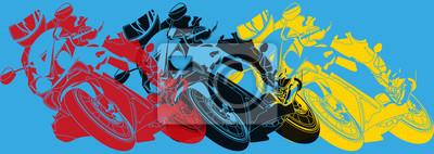 Arte pop, moto prenant une courbe