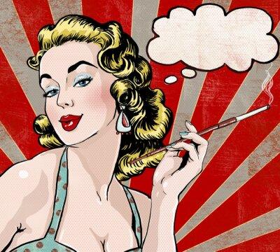 Póster Arte pop Mujer con la burbuja del discurso y el cigarrillo.