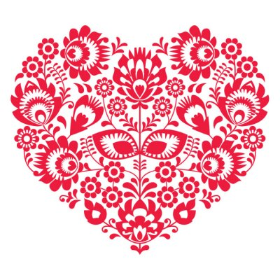Póster Arte popular del Día de San Valentín corazón rojo - patrón polaco