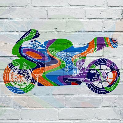 Arte urbain, moto d'inspiration psychédélique