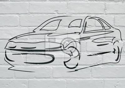Arte urbain, silhouette d'un voiture