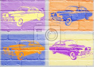 Arte urbain, voiture américaine vintage inspirado del pop art