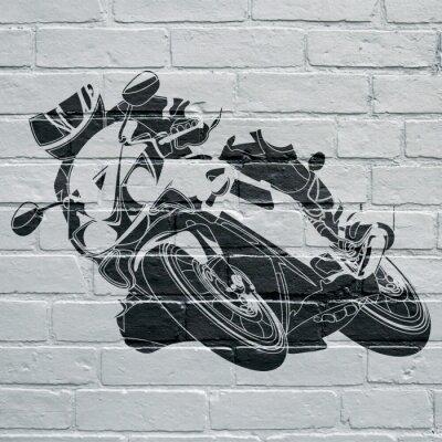Arte urbano, moto prenant une courbe