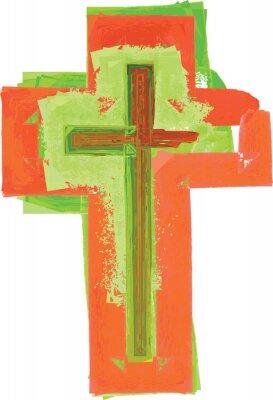 Póster Artístico, acuarela, estilo, colorido, moderno, verde, rojo, cruz