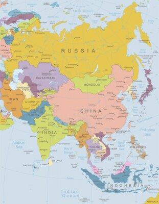 Póster Asia y altamente map.Layers detallados utilizados.