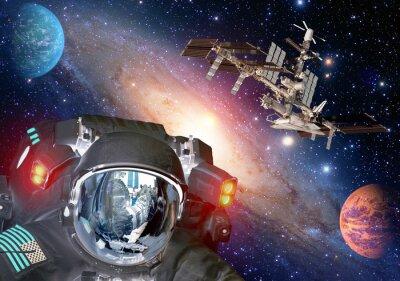 Póster Astronauta y extraterrestre sci fi ufo espacio planetas nave espacial. Elementos de esta imagen proporcionados por la NASA.