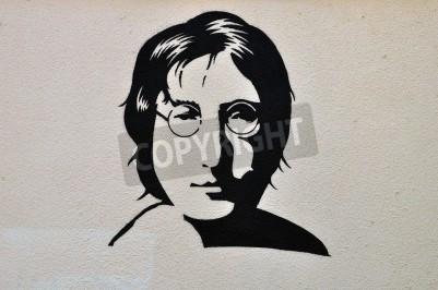 Póster Atenas, Grecia - 30 de agosto 2014: John Lennon plantilla retrato del arte graffiti urbano en la pared con textura.