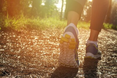 Póster Athlete runner feet running in nature, closeup on shoe. Woman fitness jogging, active lifestyle concept