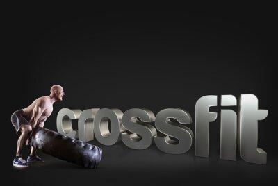Póster Athletic joven levanta un neumático en el fondo negro Motivational fitness frases