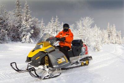 Póster Atleta en una moto de nieve.