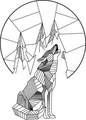 Póster Aullido de lobo geométrico