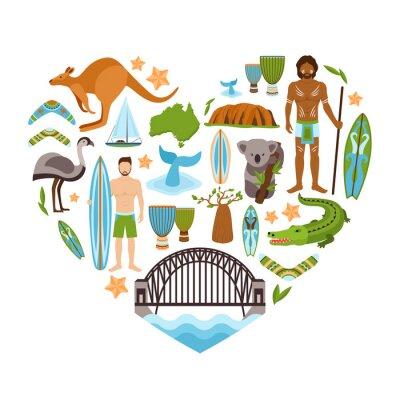 Póster Australia en forma de corazón