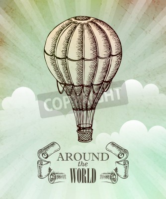 Póster Aventura aeronáutica. Vector ilustración vintage con balón EPS 10