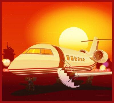 Aviación privada y puesta del sol