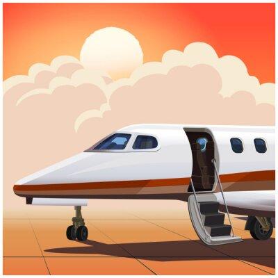 Avión de negocios contra el sol