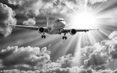Póster Avión de pasajeros despega de las pistas contra un hermoso cielo nublado