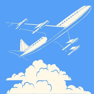 Avión de pasajeros en el fondo retro nubes