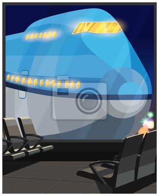Avión de pasajeros por la noche