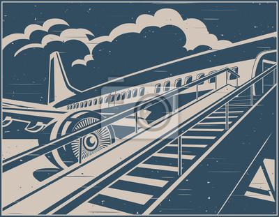Avión jet esperando pasajeros cartel retro