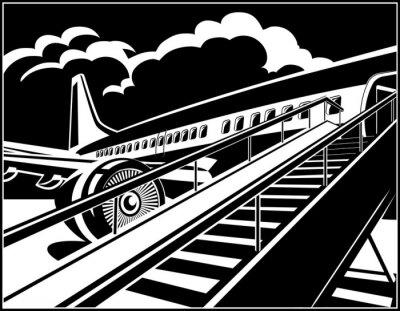 Avión jet moderno esperando pasajeros