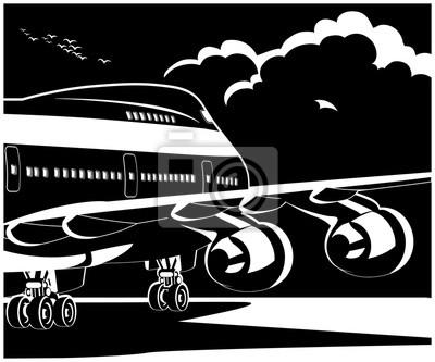 Avión jet moderno listo para despegar