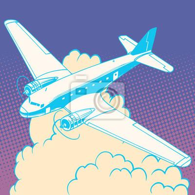 Avión, nubes, vendimia, retro, viaje, vuelos