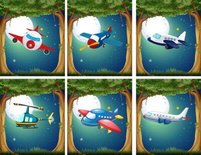 Póster Aviones y helicópteros volando por la noche