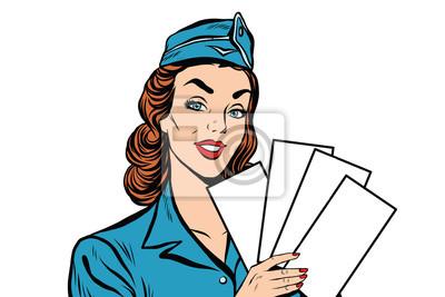 Azafata retro de la muchacha con el boleto blanco del folleto de las formas