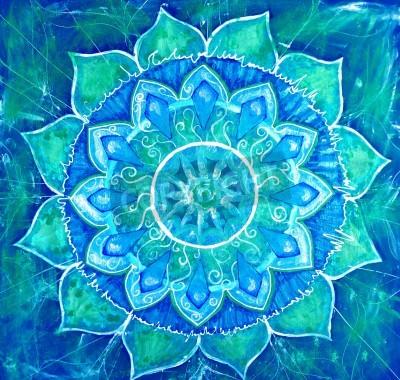 Póster azul cuadro abstracto pintado con patrón de círculo, mandala de calendario chakra