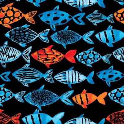 Póster Azul de la acuarela de la luz y pescados del oro en el fondo negro.
