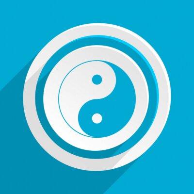 Póster Azul plano vector icono