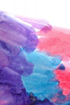 Póster Azul, púrpura, acuarelas abstractas rojas.